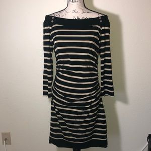WHBM black and gold striped midi dress